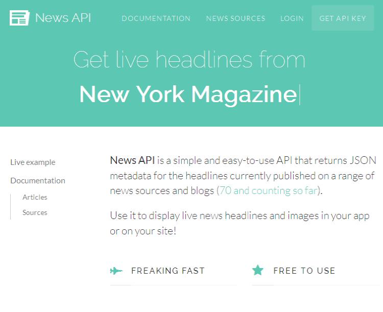NewsAPI 网站